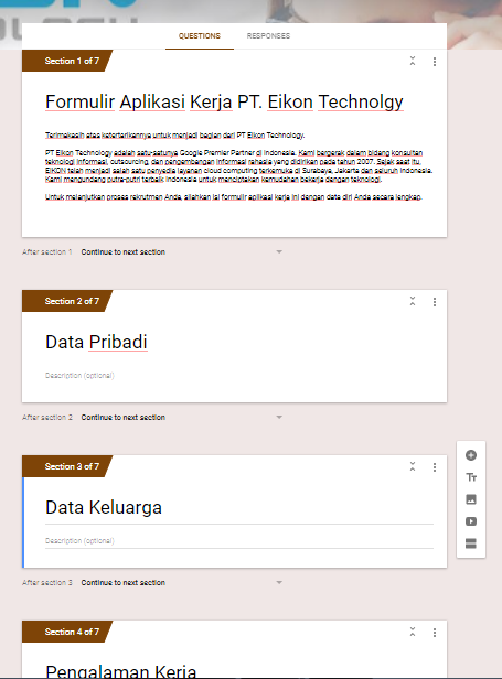 add section google form